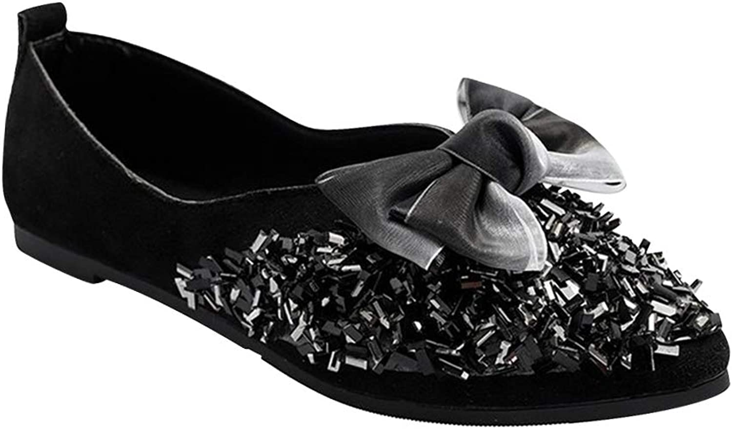 Yudesun Women Ballet Flats shoes - Loafers Fashion Pointed Pumps Sequin Casual Slip On Bow Work Walking Office Girl Lazy shoes