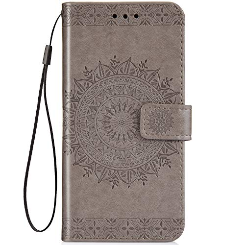 EUWLY Kompatibel mit Galaxy S8 Flip Wallet Brieftasche Hülle Leder Bookstyle Handyhülle Tasche Handytasche Magnetverschluss Hülle Ledertasche Klapphülle Kartenfächer,Mandala Blumen Grau