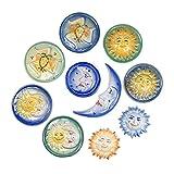 Trinacria in Ceramica, Sole e Luna in Ceramica Artigianale di Caltagirone Decorata a Mano, Gruppo 10 Articoli Assortiti