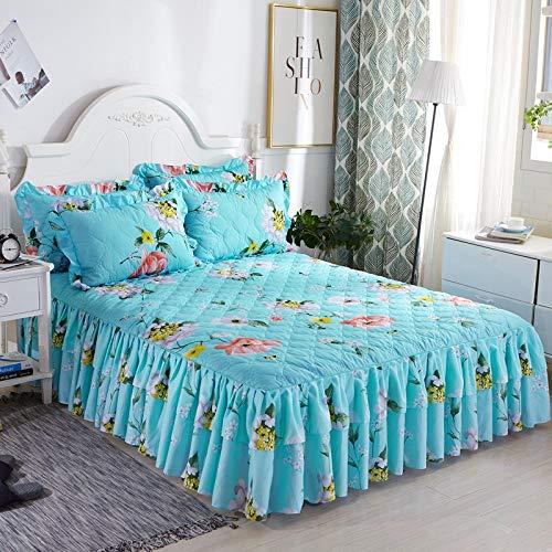 CQZM Drucken Gesteppter Bettvolant Doppelschicht Mit Rüschen Bettrock Tagesdecke Elastische Single Double Bed Skirt Anti-Allergie Für Schlafzimmer Wohnheim EtcB-150x200cm(59x79inch)