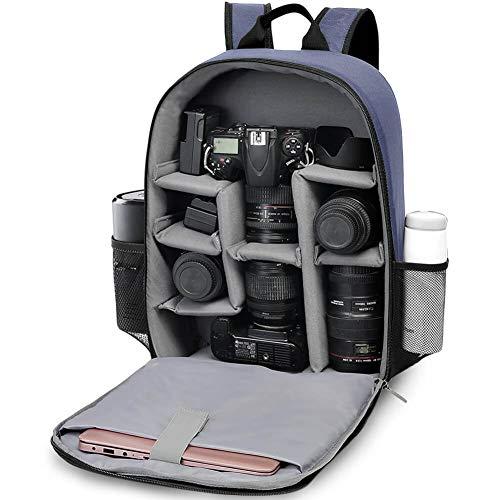 Zaino Fotografico, CADeN Borsa per Fotocamera Professionale per Fotocamera SLR SLR Mirrorless, Compatibile con Custodia e Obiettivo per Fotocamera Canon Nikon (Blu-L)
