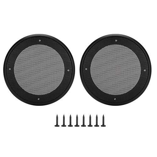Luidsprekerbeschermhoes, 2 stuks 5 inch luidsprekers grill mesh decoratieve cirkel subwoofer beschermfolie hoes audio-accessoires, schroef is inbegrepen (zwart + zwart)