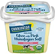 USDA Organic Grass Fed Ghee with Himalayan Salt, 12oz, Compare our cost per oz and Certified Organic, Carrington Farms, Keh00305507