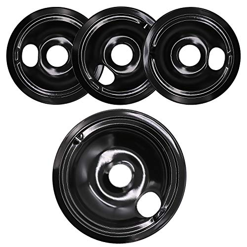 Beaquicy WB31M19 WB31M20 Burner Electric Range Porcelain Drip Pan Bowls - Includes 1 Pack 8-Inch WB31M19 and 3 Pack 6-Inch WB31M20 - Replacement for Kenmore GE Hotpoint Range