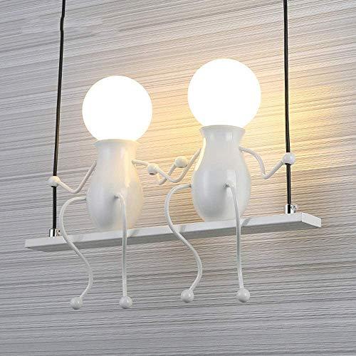 Yanqing wandlamp voor kinderen, creatief, minimalistisch, modern, woonkamer, bedlampje, hal, trap, smeedijzer, verlichting (kleur: wit), kleur: rood
