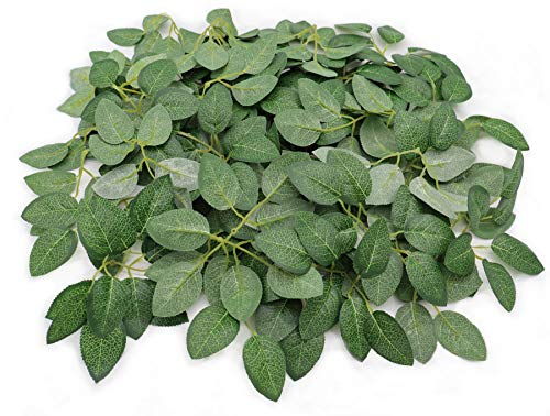 Jing-Rise - 50 hojas de rosas artificiales de seda verde, hojas artificiales para ramos de boda, centros de mesa, decoración de fiesta de cumpleaños, rosa, vino, guirnaldas