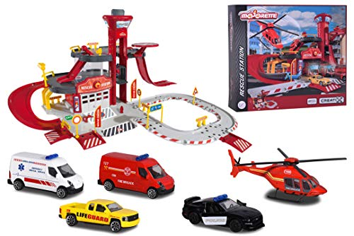 Majorette 212050027 Vehicles Creatix Rescue Station, vielseitige Rettungsstation inkl. 5 Autos, große Parkgarage mit Aufzug, Spur und Verkehrsschildern, 72x72x35 cm, rot