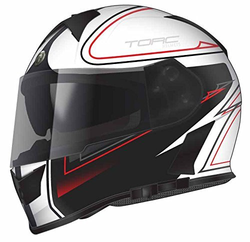 TORC T14B Bluetooth Integrated Mako Full Face Motorcycle Helmet With Graphic (Stryker White)