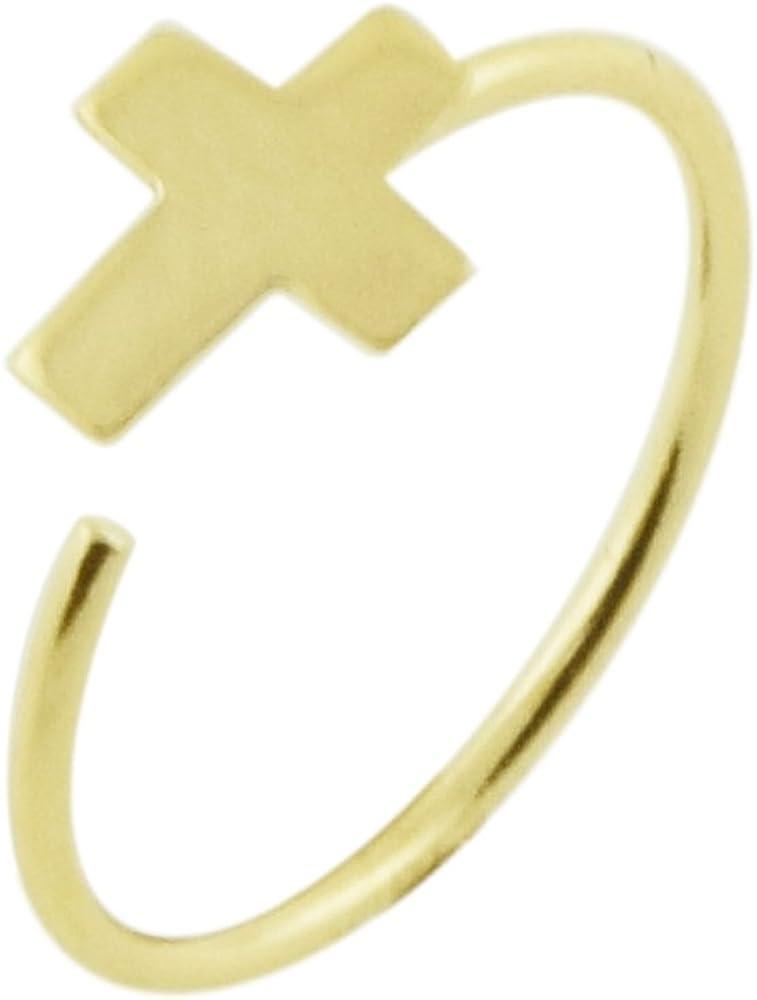 14K Yellow Gold 22 Gauge - 8MM Diameter Flat Cross Open Hoop Nose Piercing Ring Jewelry