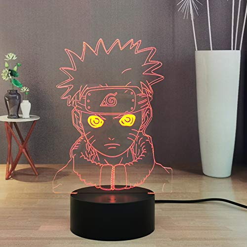 Luz nocturna 3D Anime Naruto LED Uzumaki Naruto para niños, lámpara de mesa de escritorio para niños Team 7 Kakashi Hatake Sasuke Uchiha, alimentada por pilas.