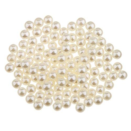 piaceto 150 x Glitzer Süßwasser-Imitation Perle ohne Loch Kunststoff Perlen DIY Handwerk, beige