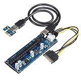Buyyart New USB 3.0 PCIe1x to 16x Extender Riser Card Adapter Molex Power Supply