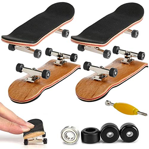 AumoToo Mini-Griffbrett, 2 Pack Profi Finger Skateboard Ahorn Holz DIY Montage Skate Boarding Spielzeug Sport Spiele Kinder Geschenk (Schwarz)