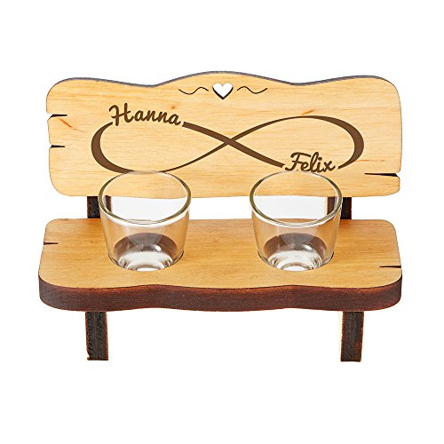 Casa Vivente Panchina da Shot in Legno con 2 Bicchierini da Liquore in Vetro, Incisione Simbolo Infinito Personalizzata con Nomi, Idea Regalo Coppie
