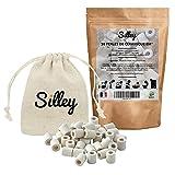 Silley – 30 perlas grises de cerámica EM + bolsa de tela reutilizable – Purificador natural de agua del grifo – Bolas filtrantes antical, cloro, impregnadas – filtración jarra, hervidor, cafetería