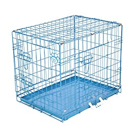 COZY PET Dog Cages in 5 Sizes 24″, 30″, 36″, 42″, 48″ & 54″ Beige, Black, Blue, Green, Pink & Silver Metal Trays Dog Crate Puppy Cage Cat Carrier