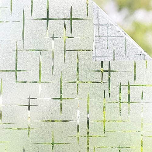 Film de Fenêtre Vitre Bon Intimité Statique Dépoli Film Electrostatique Fenetre Non Adhésif Anti Regard Anti UV Films Décoratifs Sticker Vitre Motif Croix pour Maison Bureau et Cuisine (40x200CM)