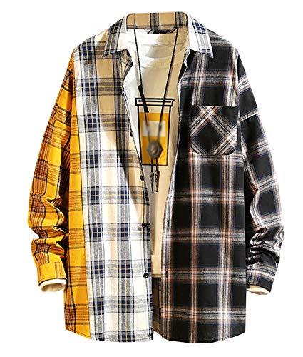 LifeHe Men's Women Patchwork Plaid Shirt Jacket Oversized Button Down Boyfriend Long Sleeve Blouse Shirts Top White