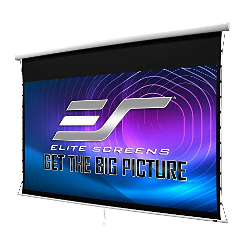Elite Screens Manual Tab-Tension 2, 125-Inch Diagonal 16:9 Built-in Slow Retract Mechanism | Drop Down Projection Screen Wall/Ceiling Mounted | 4K / 8K Ultra 3D HD Ready, MT125XWH2