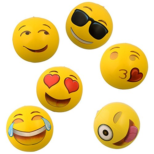 OIG Brands Emoji Beach Balls - Inflatable Toys for Toddlers 12 Balls - Beach or Pool Toys for Kids - Pool Party Supplies
