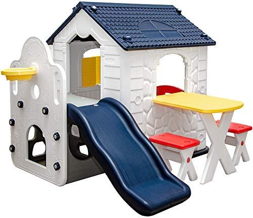 Juguetes de los niños pequeña casa de juego de rol feliz casa de campo casa de jardín con toboganes,Multi colored
