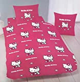 Juego de cama funda de edredón de Hello Kitty fucsia-Funda de almohada 140 x 200 cm