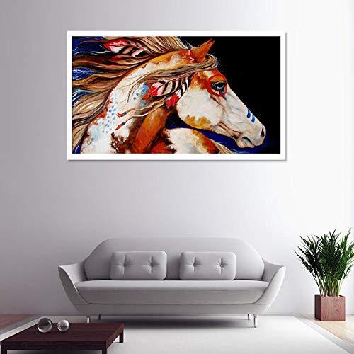 WUCHONGSHUAI Leinwanddruck,Gemälde Auf Leinwand Wandkunst,Aquarell Tier Pferd Hd Print Poster Und Drucke Wandkunst Leinwand Gemälde Für Wohnzimmer Schlafzimmer Wohnkultur Bild,70 × 100Cm Ungerahmt