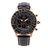 Stauer Men's Flyboy 1916 Black Midnight Chronograph Watch with Black Leather Band