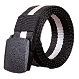 KKSB Cintura militare in nylon regolabile Cintura uomo e donna Cintura da viaggio tattica esterna Fibbia Cintura militare tattica in tela 110CM Bianco