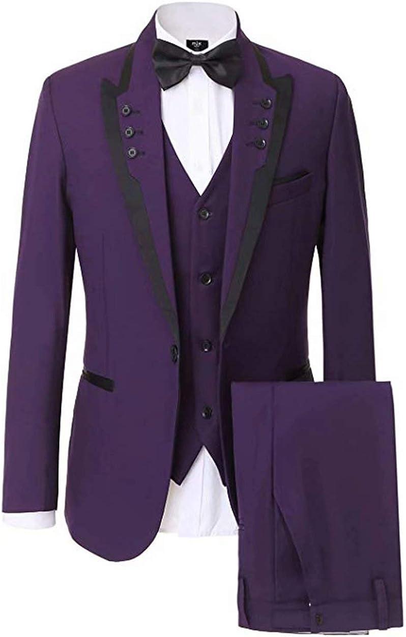 Wehilion Suits Men's Slim Fit 3 Piece Suit Two Button Blazer Tux Vest & Trousers Wedding Prom Suits