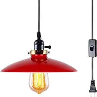 T&A UFO Industrial Plug in Pendant Lights with Off/On Switch,15.58 FT 1 Light Kitchen Antique Brass Hanging Light Fixture(Red) …