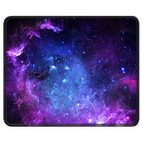 Auhoahsil Gaming Mouse Pad, Square Outer Space Theme Anti-Slip Rubber Mousepad with Stitched Edge for Office Laptop Computer PC Men Women Kids, Custom Pattern, 9.8 x 9.8 in, Mysterious Galaxy Design