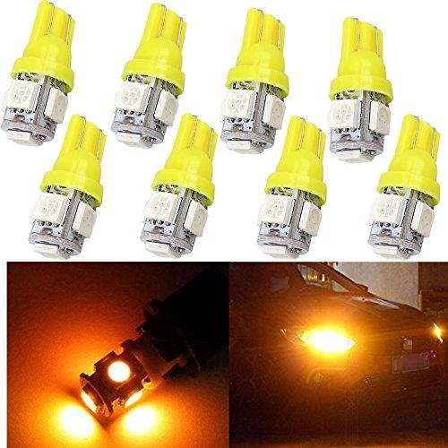 WLJH Lot de 10 Jaune Ambre T10 W5 W ampoules LED 5-smd 5050 Wedge 168 194 158 LED Lampes de voiture pour carte de dôme côté marqueur inversée sauvegarde lumière