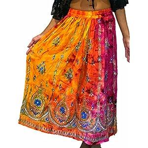 Falda larga de verano para mujer, estilo indio, estilo hippie y gitano, de verano, con lentejuelas, talla M, L | DeHippies.com