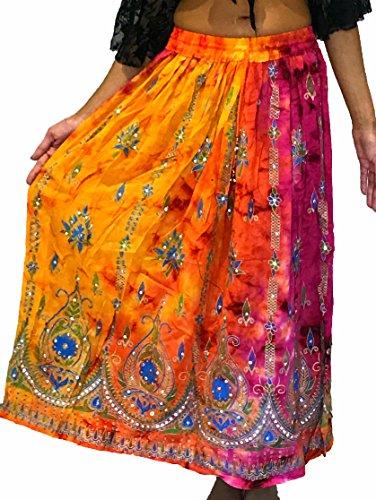 Dancers World Ltd - Falda de verano para danza del vientre, bohemia, gitana, hippie, para verano, para bailar, Verano Sundress & Belly Dancing, Mujer, color 16, tamaño 40