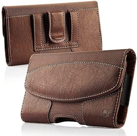 Premium Horizontal Leather Case, LUXMO Genuine Leather Pouch Holster with Magnetic Closure and Belt Clip for iPhone 8 Plus 7 Plus 6s Plus 6 Plus Galaxy S6 S7 Edge (Brown)