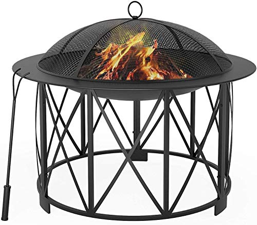 Mecor Fire Pit, 30' Steel Fire Pits, Outdoor Wood Burning BBQ Grill Firepit Bowl with Mesh Spark Screen Cover, Log Grate, Fire Poker for Camping Picnic Bonfire Patio Backyard Garden Beaches Park