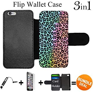 Flip Wallet Case for iPhone 6/6S (Rainbow Colorful Leopard Print) with Adjustable Stand and 3 Card Holders | Shock Protection | Lightweight | Includes HD Tempered Glass and Stylus Pen by Innosub