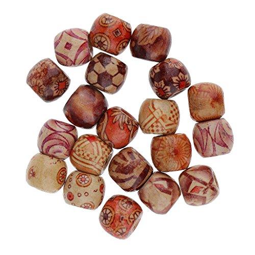 Gazechimp 20pcs Perles de Cheveux Dreadlocks Tube Décoration de Cheveux Bijoux de cheveux en Tressage Artisanat Bricolage - Bois