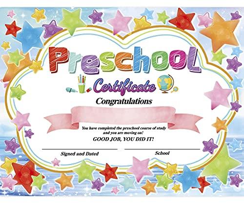 "Preschool Certificate Kindergarten Diploma Star Reward 8.5"" X 11"" Pack of 30"