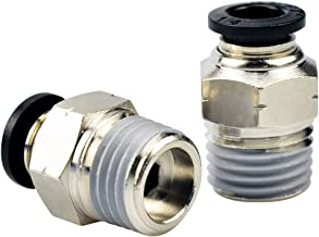 Tailonz Pneumatic Male Straight 1/4 Inch Tube OD x 1/4 Inch NPT Thread Push to Connect Fittings PC-1/4-N2(Pack of 10)