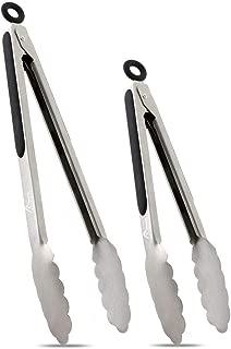 "Hotec Stainless Steel Kitchen Tongs Set of 2 - 9"" and 12"", Locking Metal Food Tongs Non-Slip Grip (Black) (Renewed)"