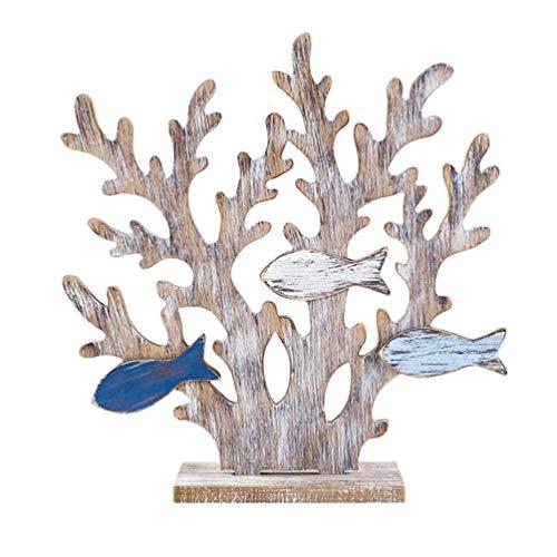 WINOMO Estatua de madera de coral para plantas subacuáticas, diseño de pez, estilo mediterráneo, decoración de casa, estilo náutico, estilo aleatorio