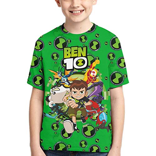 Teenage Youth Boys Girls Ben-10 T-Shirt 3D Printed Graphic Daily Teen Boy Tshirts Short Sleeve Anime Cartoon Tops Medium