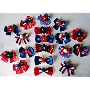 JJ Couture Pack of 30 Dog Hair Bows – Patriotic Memorial Day 4th of July Collection, 1.5 inches