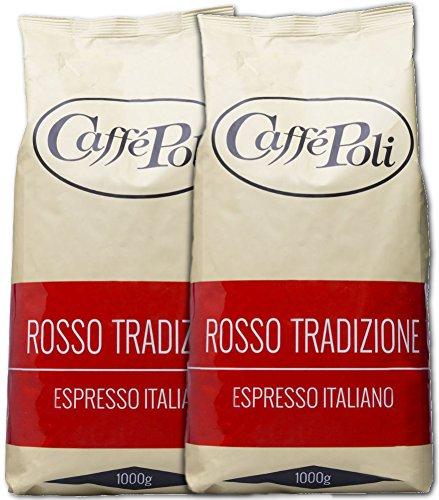 Caffé Poli Rosso Tradizione Espresso Italiano | Ganze Kaffeebohnen aus italienischer Röstung | Mischung aus Robusta und Arabica | 2 x 1 kg