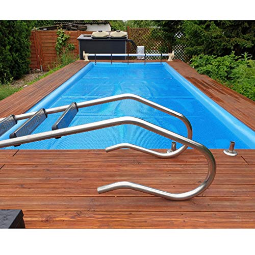 ZJM Cobertor Solar para Piscinas Tapete Protector de Piscina, Rectángulo Grande sobre el Suelo Piscina Invierno para Piscina Exterior, Cara con el Lado de la Burbuja hacia Abajo, Azul Real