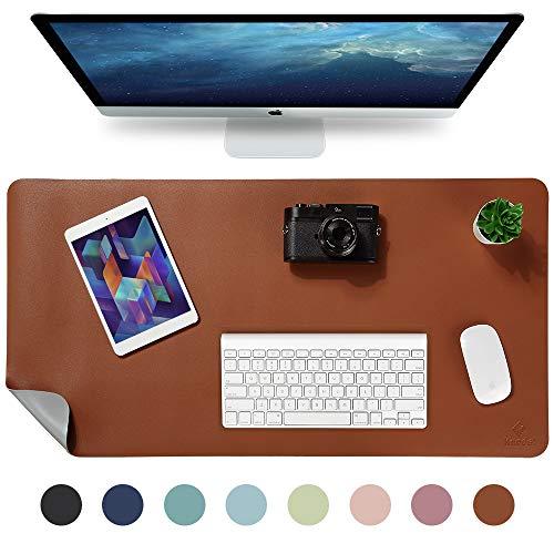 Knodel Tischunterlage, Schreibtischunterlage, 90 x 43cm PU-Leder Tischunterlage, Laptop Tischunterlage, wasserdichte Schreibunterlage für Büro- oder Heimbereich, doppelseitig (Braun / Grau)