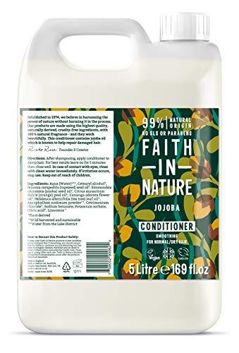 Faith in Nature Après-Shampoing Naturel Jojoba, Apaisant, Végan et Respectueux des Animaux, Sans Parabènes et Sans SLS, Cheveux Normaux à Secs, Recharge 5L
