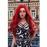 ATAYOU®80cm / 30 Pulgadas Pelucas de Cosplay Sintéticas Rizadas Onduladas Largas para Mujeres Halloween y Fiesta de Disfraces con 1 Gorra de Peluca Gratis (Rojo)